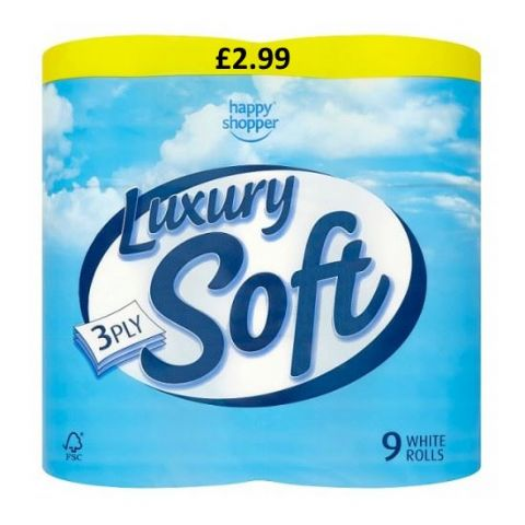 Happy Shopper Luxury Soft 3 Ply Toilet Rolls (Pack of 9)